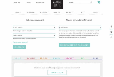 Webshop Madame Creatief - user login flow - Nog geen account